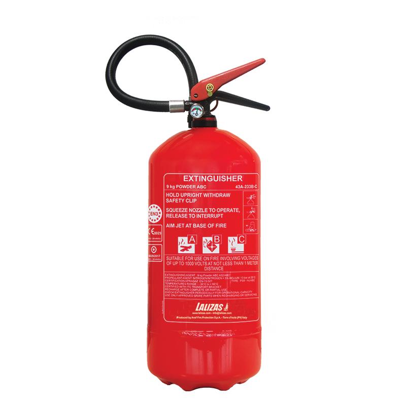 [400691] LALIZAS Fire Extinguisher Dry Powder 9kg, Stored Pressure w/wall bracket, MED (EN,IT,GR) image
