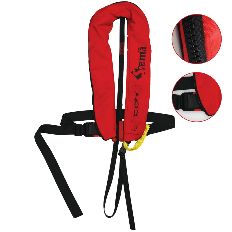 [72561] Sigma Infl.Lifejacket.Auto.Adult.170N,ISO 12402-3,Plastic buckle, w/harness,Zipper image