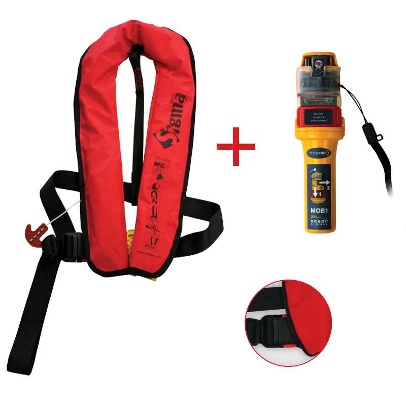 [73580] Sigma Infl.Lifejacket.Auto.Adult.170N,ISO12402-3,Plastic buckle, Red, w/Ocean Signal MOB1,set image
