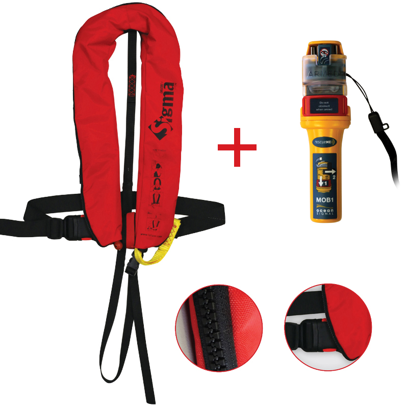 Sigma Inflatable Lifejackets Auto, 170N, ISO 12402-3 with Ocean Signal MOB1, set image