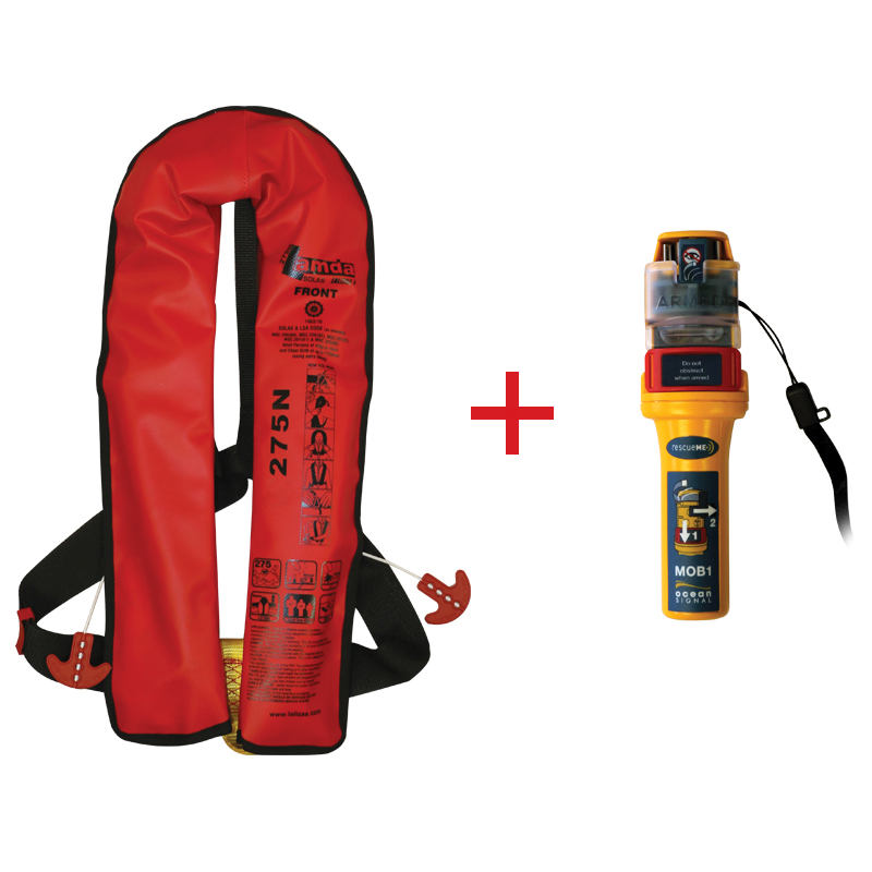 Lamda Inflatable Lifejacket Auto, 150N & 275N, SOLAS/MED with Ocean Signal MOB1, set image