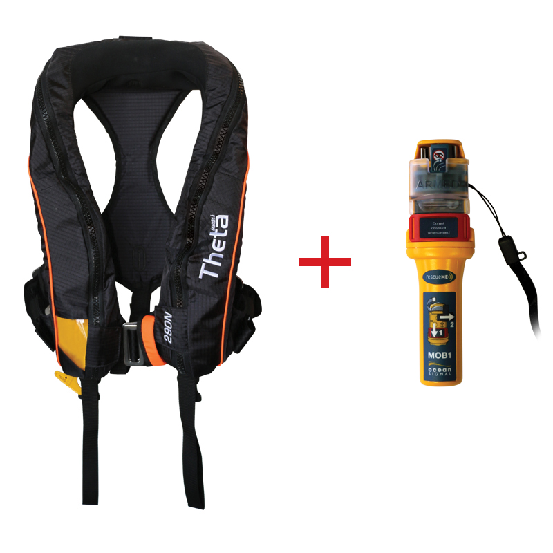Theta Inflatable Lifejacket Auto, 290N, ISO 12402-2  with Ocean Signal MOB1, set image